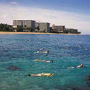 Snorkelers near Black Rock in Ka'anapali on the island of Maui.