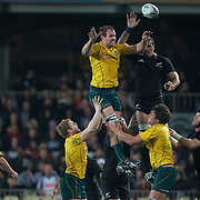 Wallabies captain Rocky Elsom wins a line out during the New Zealand V Australia Tri-Nations, Bledisloe Cup match at Eden Park, Auckland. New Zealand. 6th August 2011. Photo Tim Clayton