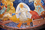 The 11th century Roman Byzantine Church of the Holy Saviour in Chora and its Anastasis fresco of the parecclesion chapel. Christ is depicted saving Adam and Eve by reurecting them from their sarcophagi. Endowed between 1315-1321 by the powerful Byzantine statesman and humanist  Theodore Metochites. Kariye Museum  Istanbul .<br /> <br /> If you prefer to buy from our ALAMY PHOTO LIBRARY  Collection visit : https://www.alamy.com/portfolio/paul-williams-funkystock/holy-saviour-chora-istanbul.html<br /> <br /> Visit our TURKEY PHOTO COLLECTIONS for more photos to download or buy as wall art prints https://funkystock.photoshelter.com/gallery-collection/3f-Pictures-of-Turkey-Turkey-Photos-Images-Fotos/C0000U.hJWkZxAbg