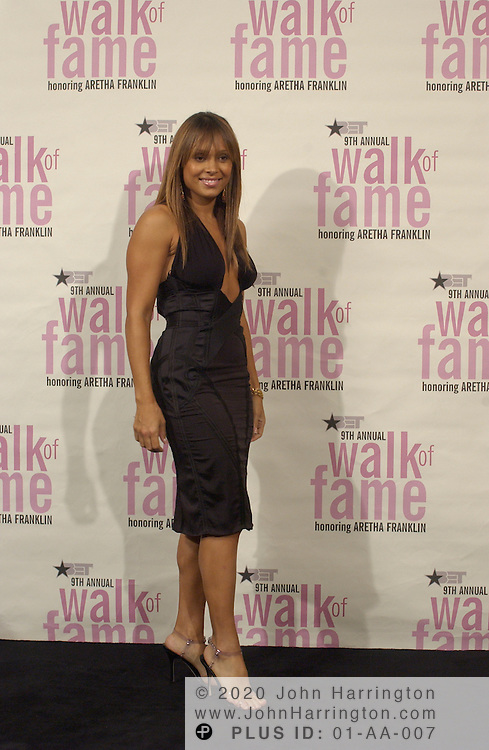 Tamia backstage at BET's 9th annual Walk of Fame honoring Aretha Franklin on Saturday October 18, 2003.