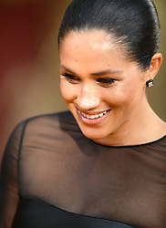 Prince Harry, Duke of Sussex and Meghan Markle, Duchess of Sussex, attend the European Premiere of The Lion King at the Odeon Leicester Square, London, UK, on the 14th July 2019. 14 Jul 2019 Pictured: Meghan Markle, Duchess of Sussex. Photo credit: James Whatling / MEGA TheMegaAgency.com +1 888 505 6342