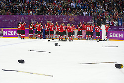 20.02.2014, Bolshoy Ice Dome, Adler, RUS, Sochi, 2014, Eishockey Damen, Spiel um die Bronzemedaille, im Bild Die Schweizerinnen jubeln nach dem Spiel, freuen sich ueber den Gewinn der Bronze Medaille // during Womens Icehockey Match for Bronze Medal of the Olympic Winter Games Sochi 2014 at the Bolshoy Ice Dome in Adler, Russia on 2014/02/20. EXPA Pictures © 2014, PhotoCredit: EXPA/ Freshfocus/ Urs Lindt<br /> <br /> *****ATTENTION - for AUT, SLO, CRO, SRB, BIH, MAZ only*****