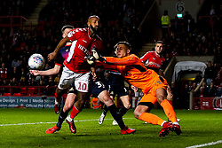 Marko Marosi of Doncaster Rovers pushes the ball away from Josh Parker of Charlton Athletic - Mandatory by-line: Robbie Stephenson/JMP - 17/05/2019 - FOOTBALL - The Valley - Charlton, London, England - Charlton Athletic v Doncaster Rovers - Sky Bet League One Play-off Semi-Final 2nd Leg
