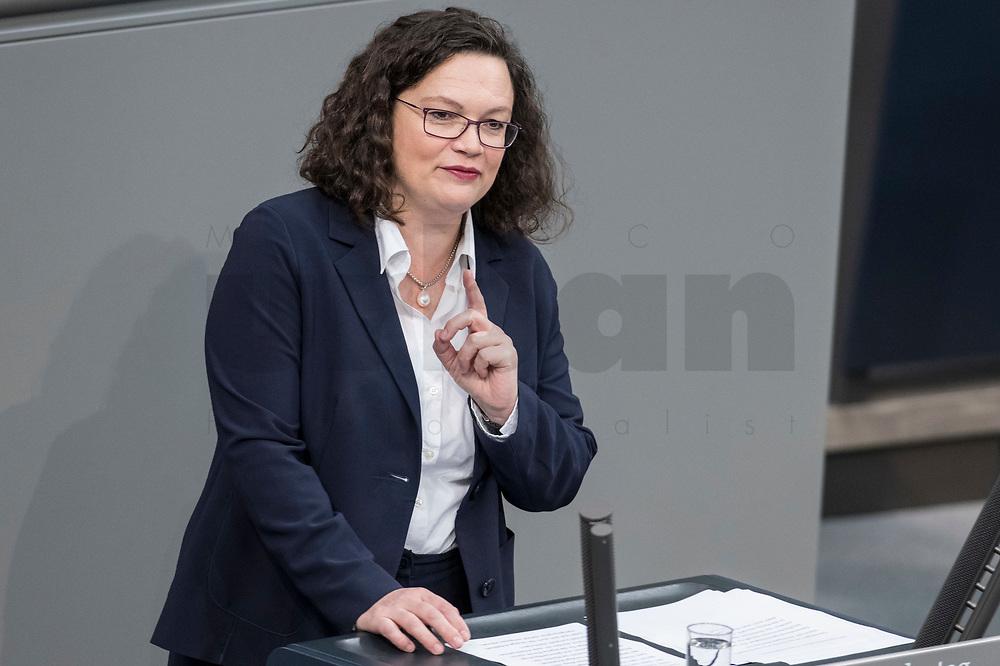 08 NOV 2018, BERLIN/GERMANY:<br /> Andrea Nahles, MdB, SPD Fraktionsvorsitzende, haelt eine Rede, Bundestagsdebatte zum Gesetzentwurf der Bundesregierung ueber Leistungsverbesserungen und Stabilisierung in der gesetzlichen Rentenversicherung, Plenum, Deutscher Bundestag<br /> IMAGE: 20181108-01-001<br /> KEYWORDS: Sitzung