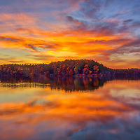 New England sunset quietude at Lake Cochituate at Cochituate State Park in Natick, Massachusetts. <br /> <br /> Massachusetts Lake Cochituate State Park photography pictures are available as museum quality photo, canvas, acrylic, wood or metal prints. Wall art prints may be framed and matted to the individual liking and interior design decoration needs:<br /> <br /> https://juergen-roth.pixels.com/featured/lake-cochituate-state-park-juergen-roth.html<br /> <br /> Good light and happy photo making!<br /> <br /> My best,<br /> <br /> Juergen