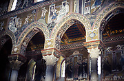 Religious wall paintings inside Norman Cathedral of Monreale, Duomo of Monreale, near Palermo, Sicily, Italy, in 1999