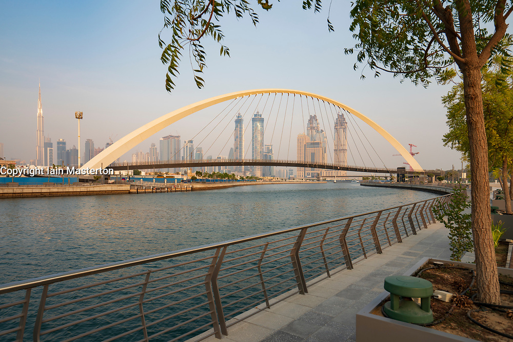 View of Tolerance Bridge, a footbridge crossing the new Dubai Water Canal a waterway that connects into Dubai Creek and the sea. UAE, United Arab Emirates