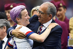 July 7, 2019 - Lyon, France - Megan Rapinoe (Reign FC) of United States celebrates victory after the 2019 FIFA Women's World Cup France Final match between The United State of America and The Netherlands at Stade de Lyon on July 7, 2019 in Lyon, France. (Credit Image: © Jose Breton/NurPhoto via ZUMA Press)