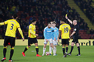 Burton Albion defender John Brayford (3) receives a yellow card during the The FA Cup 3rd round match between Watford and Burton Albion at Vicarage Road, Watford, England on 7 January 2017. Photo by Richard Holmes.