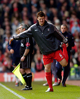 Photo. Jed Wee, Digitalsport<br /> Liverpool v Tottenham Hotspurs, Barclays Premiership, 16/04/2005.<br /> Liverpool's John Arne Riise starts the game on the bench but is called into action in the first half to replace the injured Stephen Warnock.