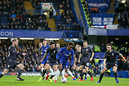 Chelsea Midfielder Callum Hudson-Odoi takes on Sheffield Wednesday midfielder George Boyd (21)  and Sheffield Wednesday defender Morgan Fox (6) during the The FA Cup fourth round match between Chelsea and Sheffield Wednesday at Stamford Bridge, London, England on 27 January 2019.