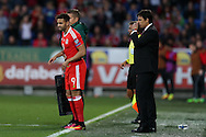 Chris Coleman, the Wales manager ® sends on Hal Robson-Kanu of Wales as a replacement in the 2nd half.  Wales v Georgia , FIFA World Cup qualifier, European group D match at the Cardiff city Stadium in Cardiff on Sunday 9th October 2016. pic by Andrew Orchard, Andrew Orchard sports photography