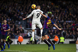 October 28, 2018 - Barcelona, Catalonia, Spain - 09 Karim Benzema from France of Real Madrid defended by 20 Sergi Roberto from Spain of FC Barcelona during the Spanish championship La Liga football match ''El Classico'' between FC Barcelona and Real Sociedad on October 28, 2018 at Camp Nou stadium in Barcelona, Spain. (Credit Image: © Xavier Bonilla/NurPhoto via ZUMA Press)