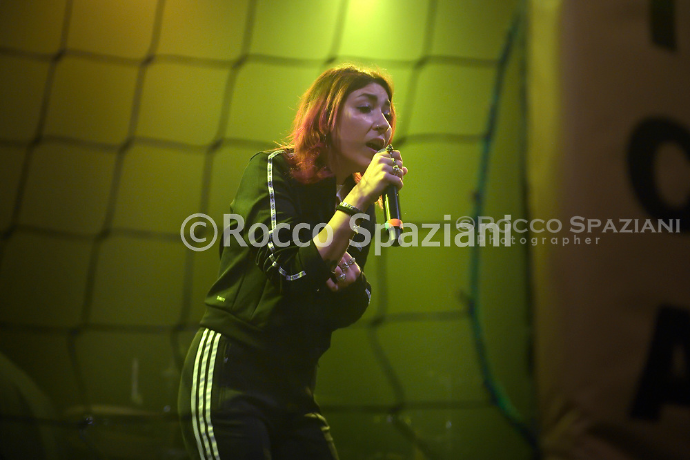 """The young Italian singer rapper  finalist contestant of the """"Hurricane Tournament"""" competition, organized by the Roman rapper Mezzosangue in concert at the Atlantic in Rome. Rome (Italy),January 25th ,2020"""