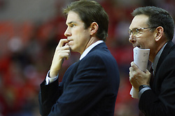 07 January 2012:  Tim Jankovich and Rob Judson during an NCAA Missouri Valley Conference mens basketball game Where the Purple Aces of Evansville lost to the Illinois State Redbirds 75-73 in Redbird Arena, Normal IL