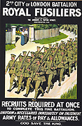 World War I 1914-1918: British recruitment posterfor 2nd City of London Battalion Royal Fusiliers. Column of soldiers in khaki, wearing puttees and carrying rifles, march along road. Two women stand in gateway waving.