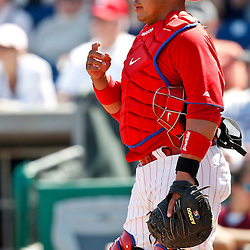 February 24, 2011; Clearwater, FL, USA; Philadelphia Phillies catcher Carlos Ruiz (51) during a spring training exhibition game against the Florida State Seminoles at Bright House Networks Field. The Phillies defeated the Seminoles 8-0. Mandatory Credit: Derick E. Hingle