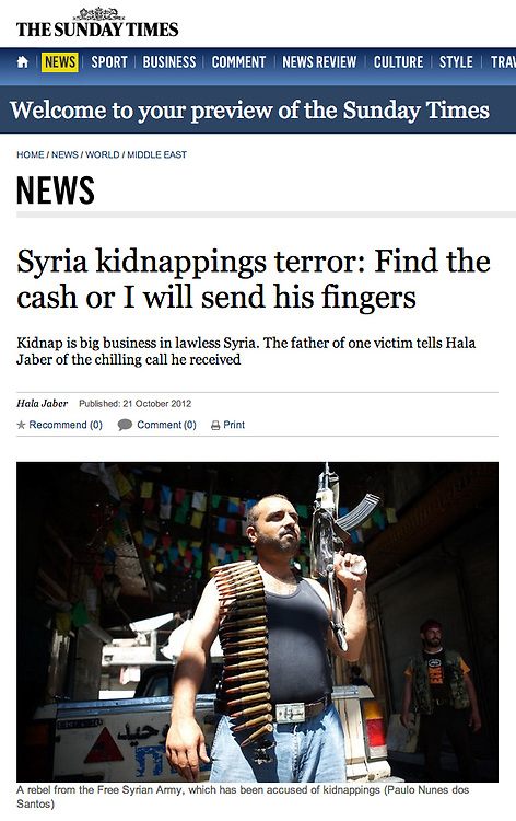 """Tearsheet of """"Syria: FSA fighters"""" published in The Sunday Times"""