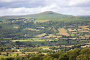 Usk valley landscape looking north to Sugar Loaf mountain, near Abergavenny, Monmouthshire, Wales, UK