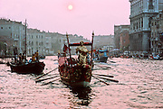 ITALY, VENICE Canal Grande or Grand Canal; 2 miles long, lined with 12th to 18thc palaces; gondolas  in procession during the Grand Regatta