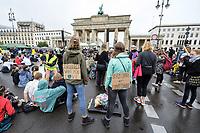 """25 SEP 2020, BERLIN/GERMANY:<br /> Junge Frauen mit Schildern """"Protect what you love"""" und """"System change not Climate Change"""", vor dem Brandenburger Tor, Fridays for Future Demonstration fuer Massnahmen gegen den Klimawandel, Brandenburger Tor, Strasse des 17. Juni<br /> IMAGE: 20200925-01-015<br /> KEYWORDS: Protest, Demonstrant, Demonstranten, Demonstratin, Schueler, Schüler, Klimakatastrophe, FFF, Abstand"""