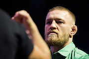 LAS VEGAS, NV - JULY 7:  Conor McGregor faces off with Nate Diaz during the UFC 202 press conference at T-Mobile Arena on July 7, 2016 in Las Vegas, Nevada. (Photo by Cooper Neill/Zuffa LLC/Zuffa LLC via Getty Images) *** Local Caption *** Conor McGregor