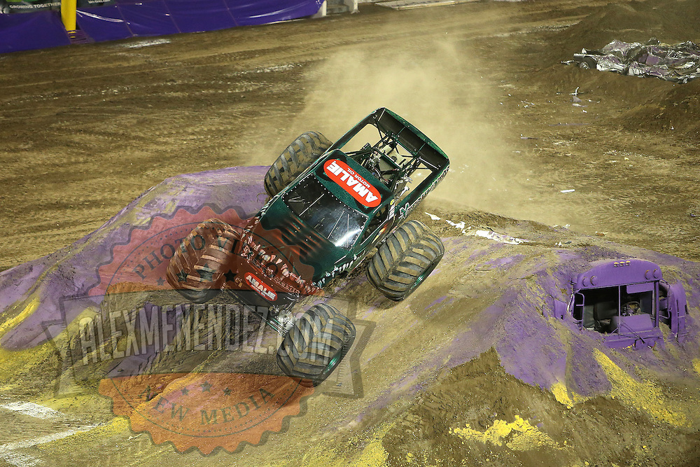 Monster truck Termigator is seen during the Monster Jam big truck event at the Citrus Bowl in Orlando, Florida on Saturday, January 25, 2014. (AP Photo/Alex Menendez)