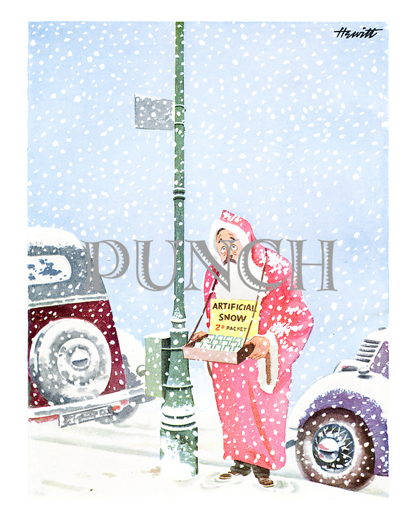 (A street-seller dressed as Santa Claus selling packets of artificial snow in a blizzard)