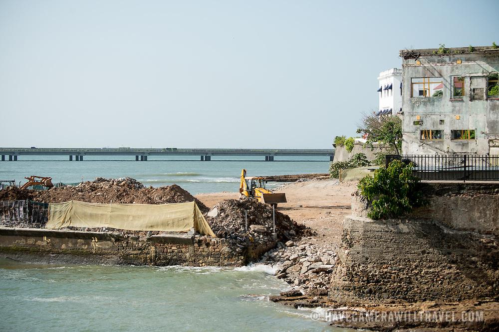 New construction on the waterfront of Casco Viejo, Panama City, Panama, on Panama Bay.