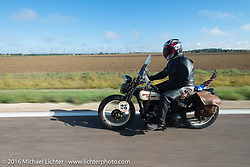 Scott Byrd riding his 1931 Harley-Davidson V during Stage 8 of the Motorcycle Cannonball Cross-Country Endurance Run, which on this day ran from Junction City, KS to Burlington, CO., USA. Saturday, September 13, 2014.  Photography ©2014 Michael Lichter.