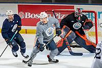 KELOWNA, BC - SEPTEMBER 23:  Matt Benning #83 of the Edmonton Oilers practices at Prospera Place on September 23, 2019 in Kelowna, Canada. (Photo by Marissa Baecker/Shoot the Breeze)