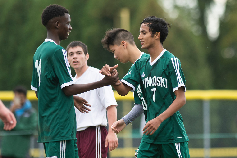 Winooski's Lek Nath Luitel (7) celebrates a goal during the boys soccer game between the Richard Eagles and the Winooski Spartans at Winooski High School on Saturday afternoon September 28, 2019 in Winooski, Vermont. (BRIAN JENKINS/for the FREE PRESS)
