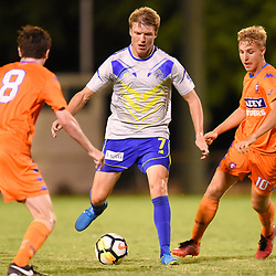 BRISBANE, AUSTRALIA - JANUARY 27: Michael Lee of the Strikers in action during the Kappa Silver Boot Grand Final match between Lions FC and Brisbane Strikers on January 27, 2018 in Brisbane, Australia. (Photo by Patrick Kearney)