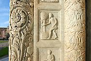 Medieval Sculptures of the Door of the Bapistry of Pisa, Italy
