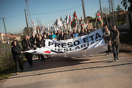 February 20, 2016. Some friends and relatives of Basque political prisoners take part on a march to Caceres penitentiary center, within the campaign of 40 marches to 40 prisons where Basque prisoners are imprisoned. These marches are to denounce the dispersal policy those prisoners suffer since more than 25 years. (Gari Garaialde / Bostok Photo)