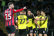 Burton Albion forward Oliver Sarkic (17) scores a goal and celebrates 1-0  during the EFL Cup match between Burton Albion and Bournemouth at the Pirelli Stadium, Burton upon Trent, England on 25 September 2019.