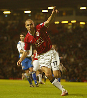 Photo: Aidan Ellis.<br /> Manchester United v Portsmouth. The FA Cup. 27/01/2007.<br /> United's Henrik Larsson turns to celebrate his volley but the goal is given offside