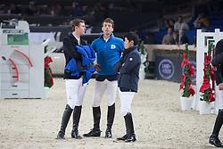 Verlooy Jos (BEL), Smolders Harrie (NED), Sato Eiken (JPN)<br /> Prijs Nekkerhal<br /> Flanders Christmas Jumping - Mechelen 2012<br /> © Dirk Caremans