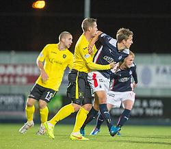 Livingston Burton O'Brien and Falkirk's Will Vaulks.<br /> Falkirk 0 v 0  Livingston, Scottish Championship game played 21/10/2014 at The Falkirk Stadium.