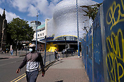 As numbers of Covid-19 cases in Birmingham have dramatically risen in the past week, increased lockdown measures have been announced for Birmingham and other areas of the West Midlands, people wearing face masks near the iconic Selfridges building in the city centre on 12th September 2020 in Birmingham, United Kingdom. With the rule of six also being implemented the Birmingham area has now be escalated to an area of national intervention, with a ban on people socialising with people outside their own household, unless they are from the same support bubble.