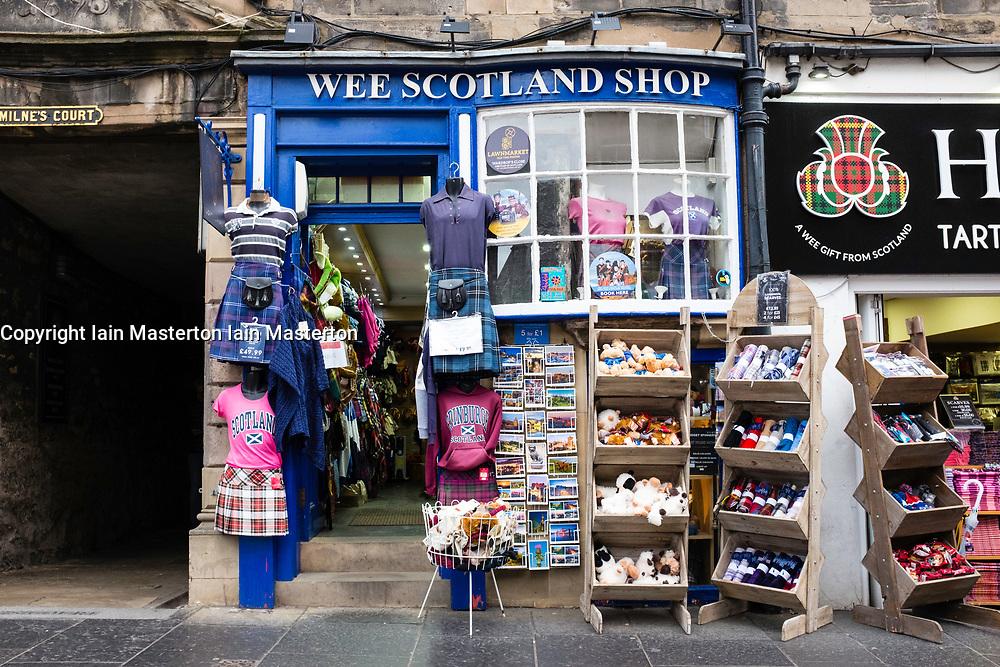 Exterior of typical tourist souvenir shop on the Royal Mile in Edinburgh , Scotland, United Kingdom.