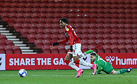 Middlesbrough's Djed Spence beats Coventry City's Marko Marosi before scoring his side's second goal <br /> <br /> Photographer Alex Dodd/CameraSport<br /> <br /> The EFL Sky Bet Championship - Middlesbrough v Coventry City - Tuesday 27th October 2020 - Riverside Stadium - Middlesbrough<br /> <br /> World Copyright © 2020 CameraSport. All rights reserved. 43 Linden Ave. Countesthorpe. Leicester. England. LE8 5PG - Tel: +44 (0) 116 277 4147 - admin@camerasport.com - www.camerasport.com