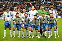 FOOTBALL - UEFA EURO 2012 - QUALIFYING - GROUP D - FRANCE v BOSNIA - 11/10/2011 - PHOTO GUY JEFFROY / DPPI - TEAM BOSNIA ( BACK ROW LEFT TO RIGHT: MENSUR MUJDZA / HARIS MEDUNJANIN / ZVJEZDAN MISIMOVIC / ELVIR RAHIMIC / KENAN HASAGIC / EDIN DZEKO. FRONT ROW: MIRALEM PJANIC / SASA PAPAC / EMIR SPAHIC / BORIS PANDZA / SENAD LULIC )