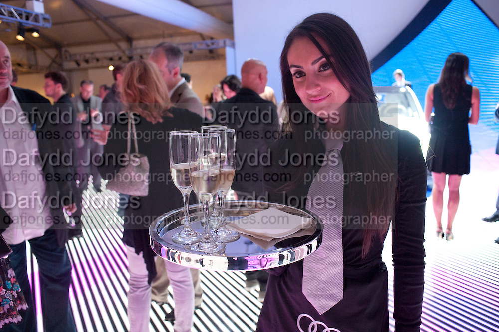 Small portions of champagne on the Mercedes stand, Opening of the Design Fair. Miami Art Basel 2011, Miami Beach. 29 November 2011.
