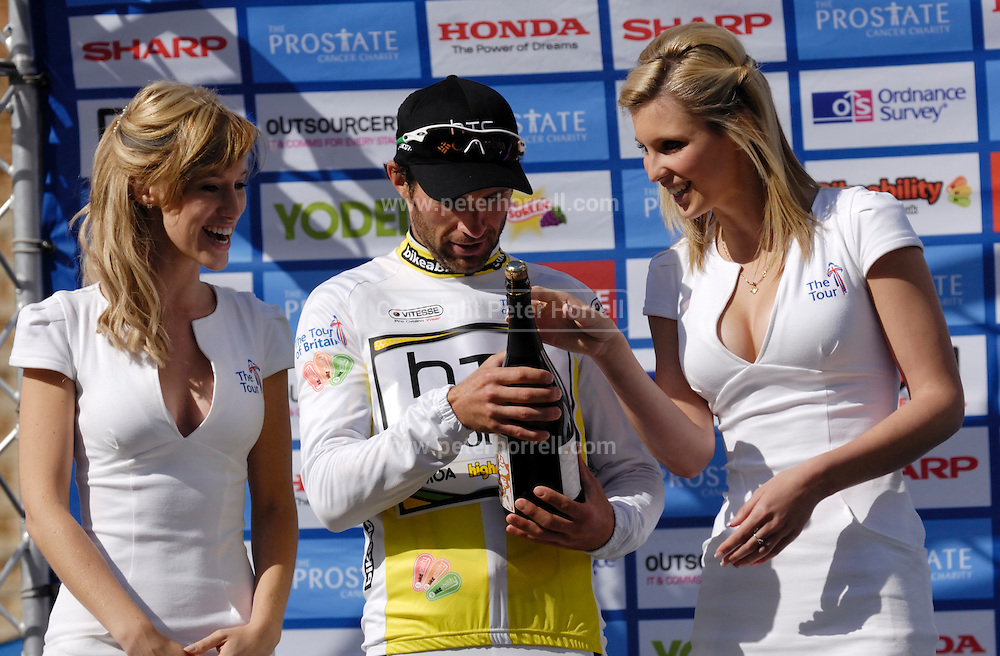 UK, September 17 2010: HTC-Colombia's Michael Albasini retained the race leader's jersey at the end of Stage 7, Bury St Edmonds to Colchester, of the 2010 Tour of Britain Cycle Race. Copyright 2010 Peter Horrell