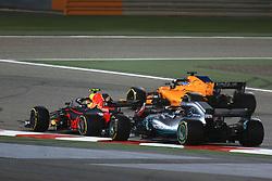 April 8, 2018 - Sakhir, Bahrain - Motorsports: FIA Formula One World Championship 2018, Grand Prix of Bahrain,#33 Max Verstappen (NDL, Red Bull Racing), #44 Lewis Hamilton (GBR, Mercedes AMG Petronas F1 Team) (Credit Image: © Hoch Zwei via ZUMA Wire)