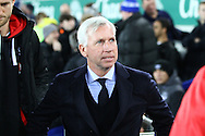 Crystal Palace Manager Alan Pardew looks on prior to kick off. Barclays Premier league match, Everton v Crystal Palace at Goodison Park in Liverpool, Merseyside on Monday 7th December 2015.<br /> pic by Chris Stading, Andrew Orchard sports photography.