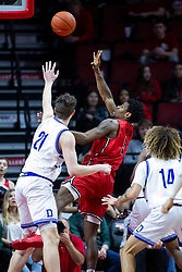 NORMAL, IL - February 22: Keith Fisher III takes a leaner to get the ball over Liam Robbins during a college basketball game between the ISU Redbirds and the Drake Bulldogs on February 22 2020 at Redbird Arena in Normal, IL. (Photo by Alan Look)
