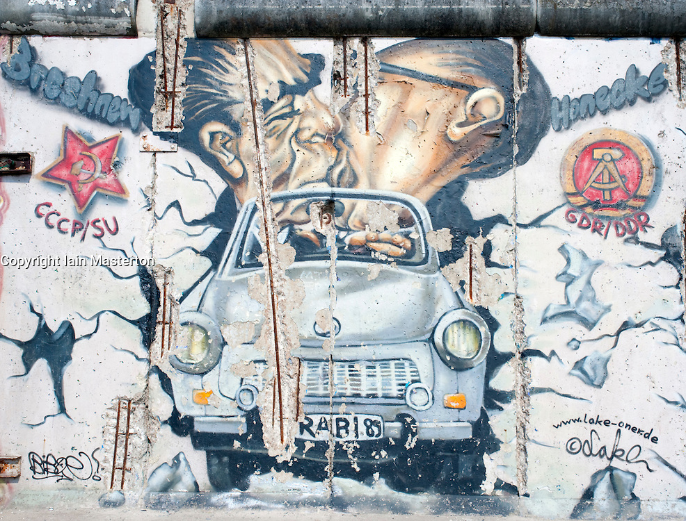 Graffiti covered section of original Berlin Wall at East Side Gallery in Berlin 2009