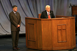 March 12th, 2006. New Orleans, Louisiana. <br /> Claiming this to be his last event preaching from the pulpit, the world's most famous evangelist, The Reverend Billy Graham and his son Franklin after addressing a capacity crowd at the New Orleans Arena as he brings his 'Celebration of Hope' weekend event to an end.<br /> Photo©; Charlie Varley/varleypix.com